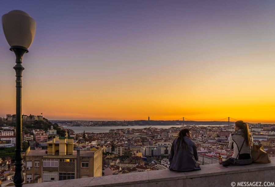 Enjoying The Lisbon Viewpoint at Sunset Photography By Messagez.com