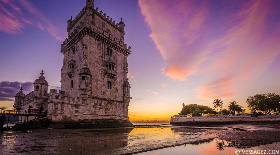 Original Lisbon Tower Purple Feelings Photography By Messagez.com