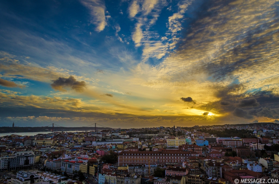 Peculiar Sunset Sky in Lisbon Portugal Photography By Messagez.com