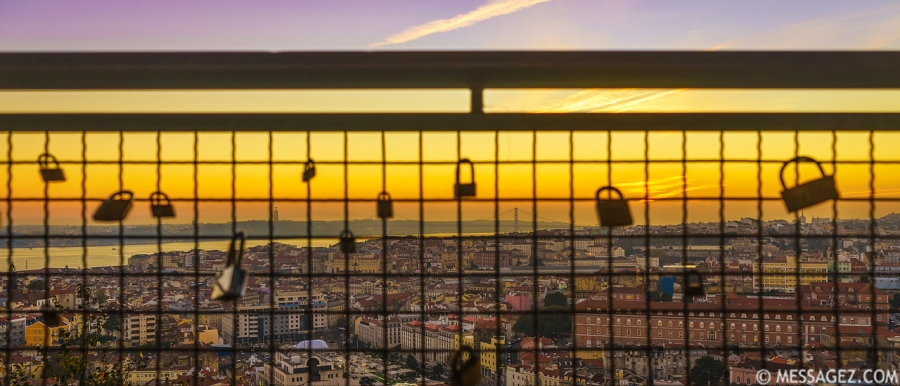 Locked in Lisbon Viewpoint at Sunset Photography By Messagez.com