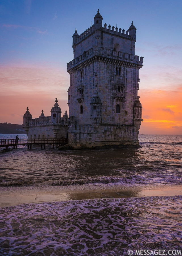 Original Lisbon Tower Sunset Waves Photography By Messagez.com
