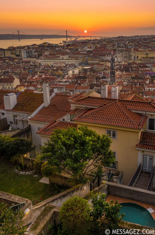Original Lisbon Castle Landscape Viewpoint at Sunset Photography By Messagez.com