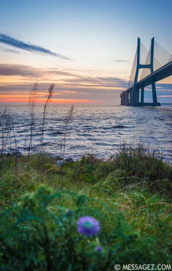 Lisbon Vasco da Gama Bridge at Sunrise Photography 3 By Messagez.com