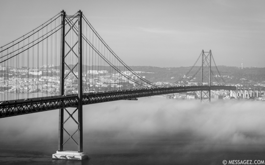 Original Lisbon 25th of April Bridge Landscape Photography BW 2 By Messagez.com