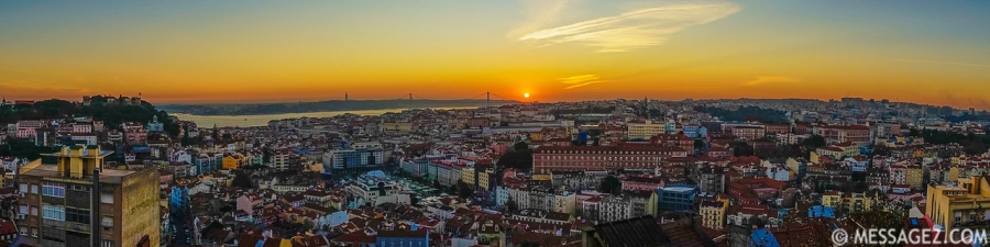 Best Lisbon Panoramic View at Sunset Photography By Messagez.com