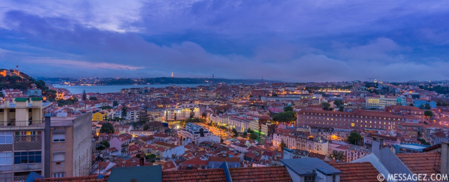 Lisbon Viewpoint at Blue Hour Photography By Messagez.com