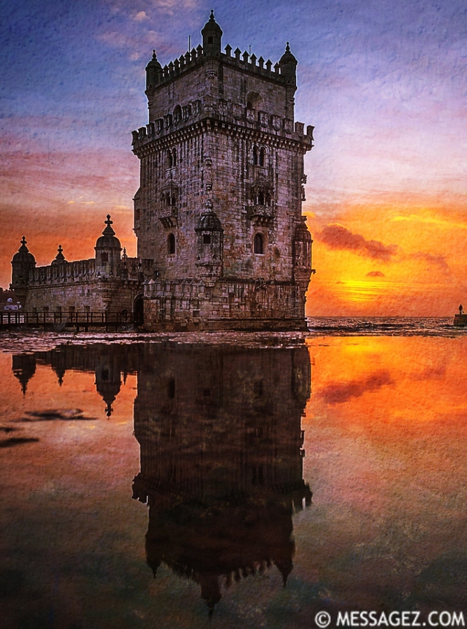 Lisbon Tower Perfect Reflection Photography By Messagez.com