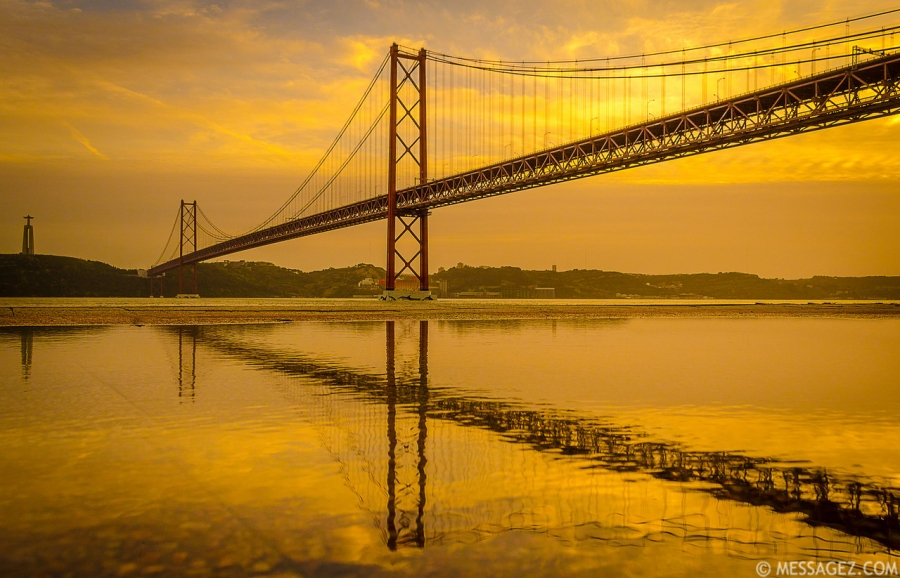 Golden Bridge Reflection Photography By Messagez.com