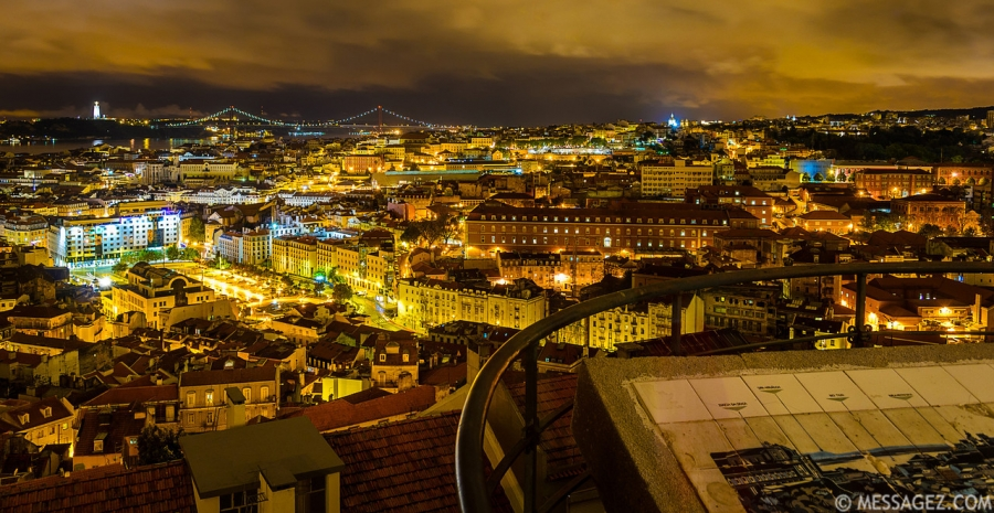 Lisbon Beauty Viewpoint at Night Photography By Messagez.com