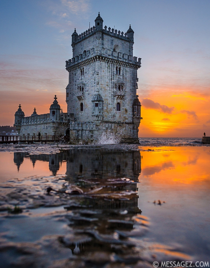 Best of Portugal Lisbon Tower Sunset  Reflections Photography By Messagez.com
