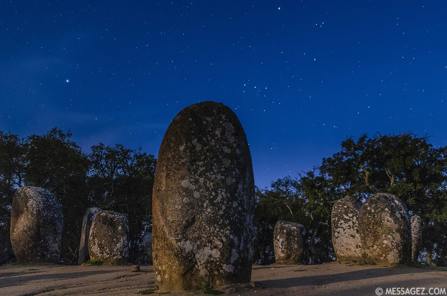 Portugal Cromlech of the Almendres Megalithic Complex Night Photography 4 By Messagez.com