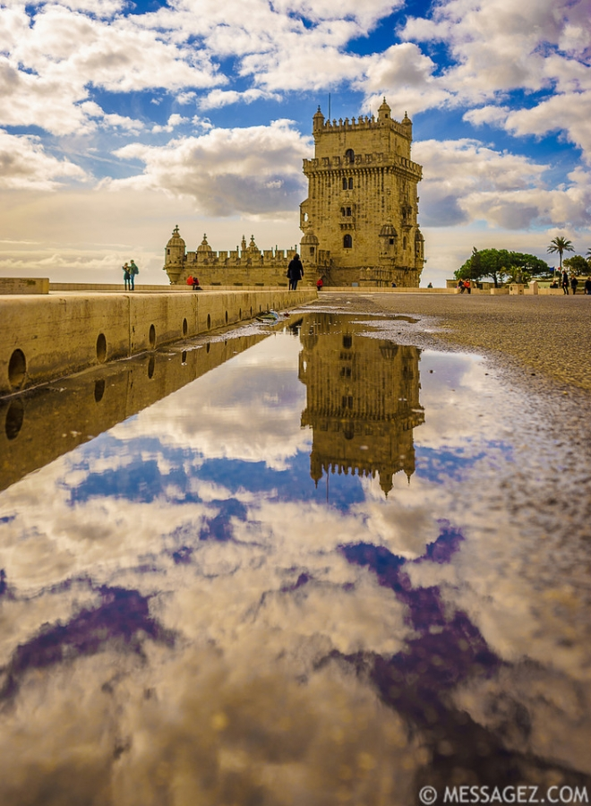 Portugal Lisbon Tower Reflection Fine Art Photography 2 By Messagez.com