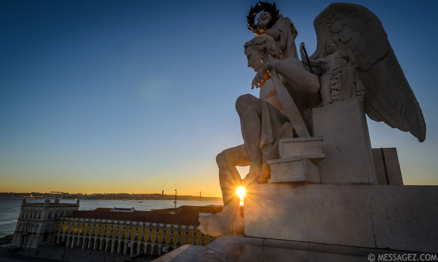 Lisbon Sunset at Triumphal Arch Viewpoint Image By Messagez.com