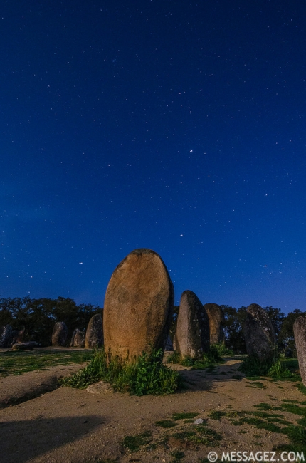Portugal Cromlech of the Almendres Megalithic Complex Night Photography 3 By Messagez.com