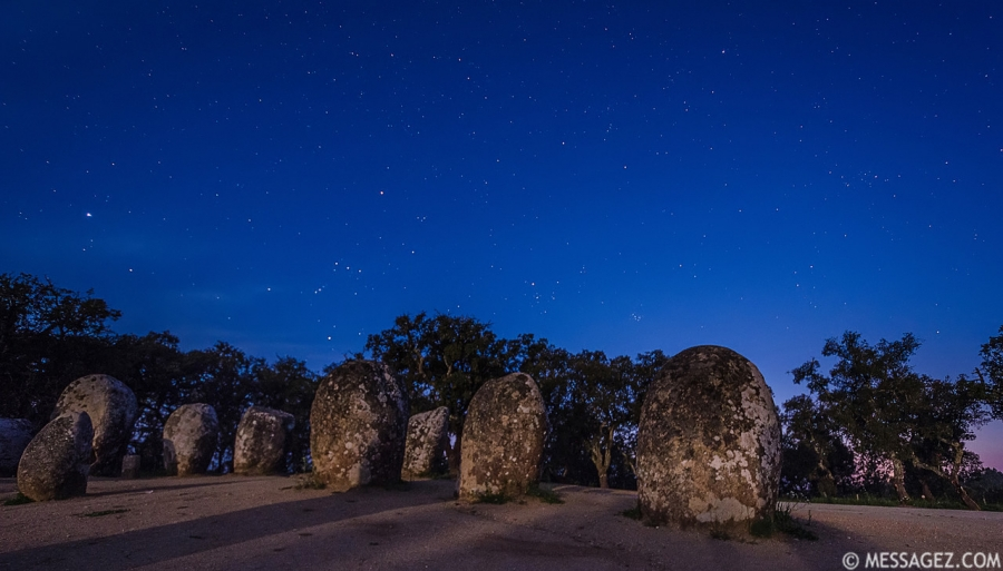 Portugal Cromlech of the Almendres Megalithic Complex Night Photography 5 By Messagez.com