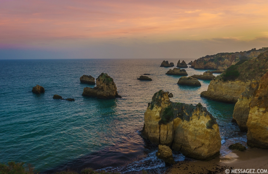 Portugal Algarve Golden Rock Boats at Sunset Photography By Messagez.com
