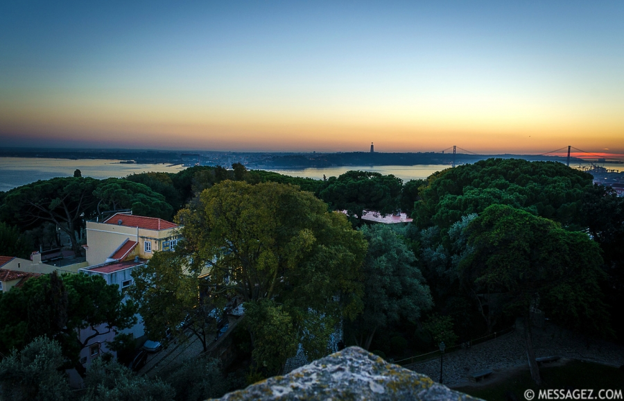 Original Portugal Lisbon Castle Viewpoint at Sunset Photography By Messagez.com