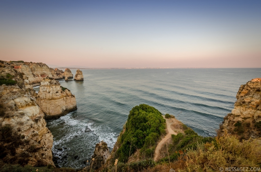 Photograph of lagos coast in Portugal at sunset