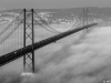 Original Lisbon 25th of April Bridge Landscape Photography BW By Messagez.com